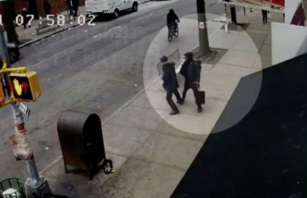 Police camera footage of one of the attacks in Crown Heights. In this attack, 22-year-old Mendel Super was punched in the face while walking down the street. The three assailants were arrested and charged with hate crimes.
