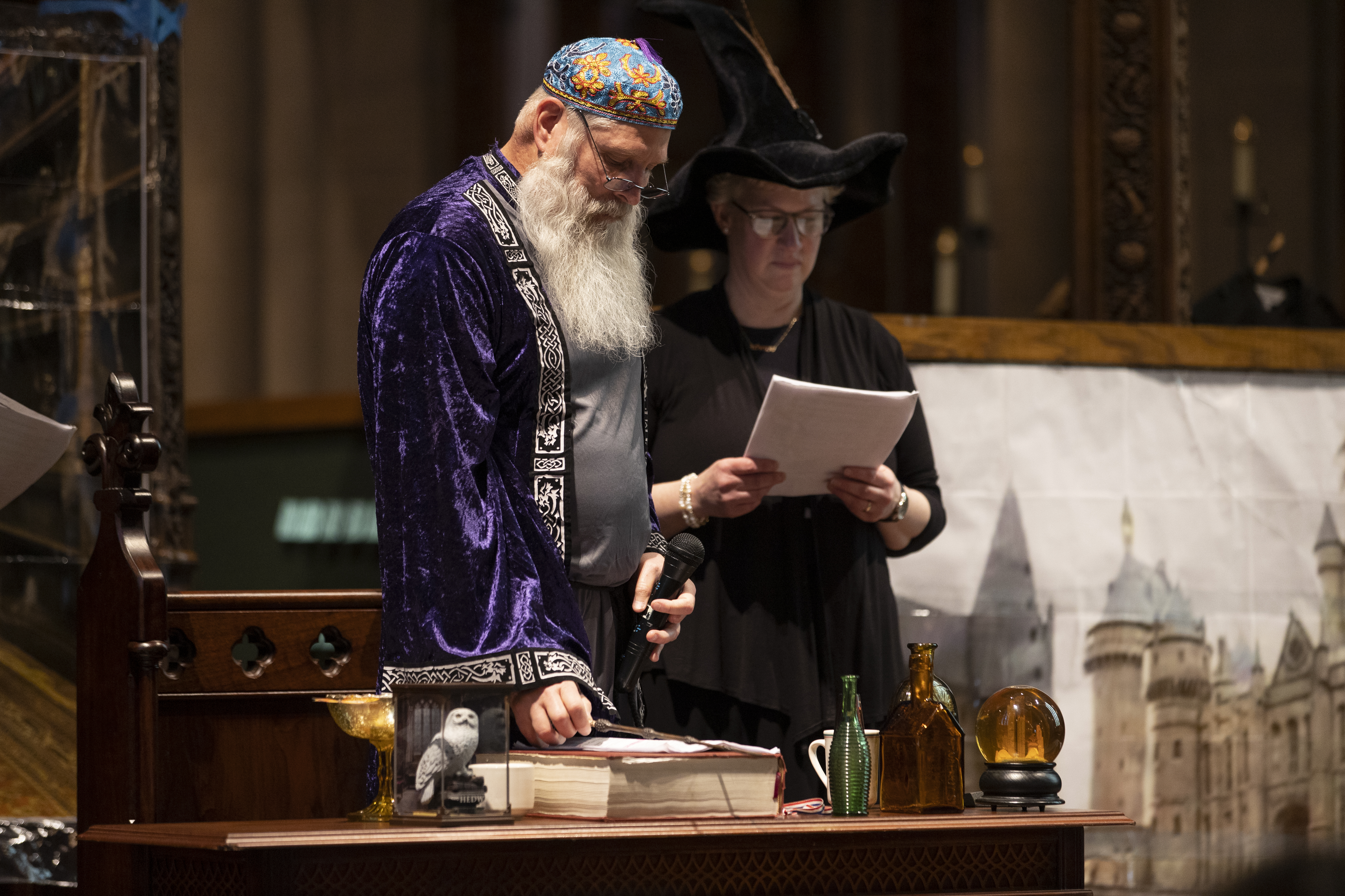 The Tree of Life and Rodef Shalom held a Purim service at Calvary Episcopal Church on March 8, 2020. The Rev. Jonathon Jensen and the Rev. Neil Raman both have parts in the play.