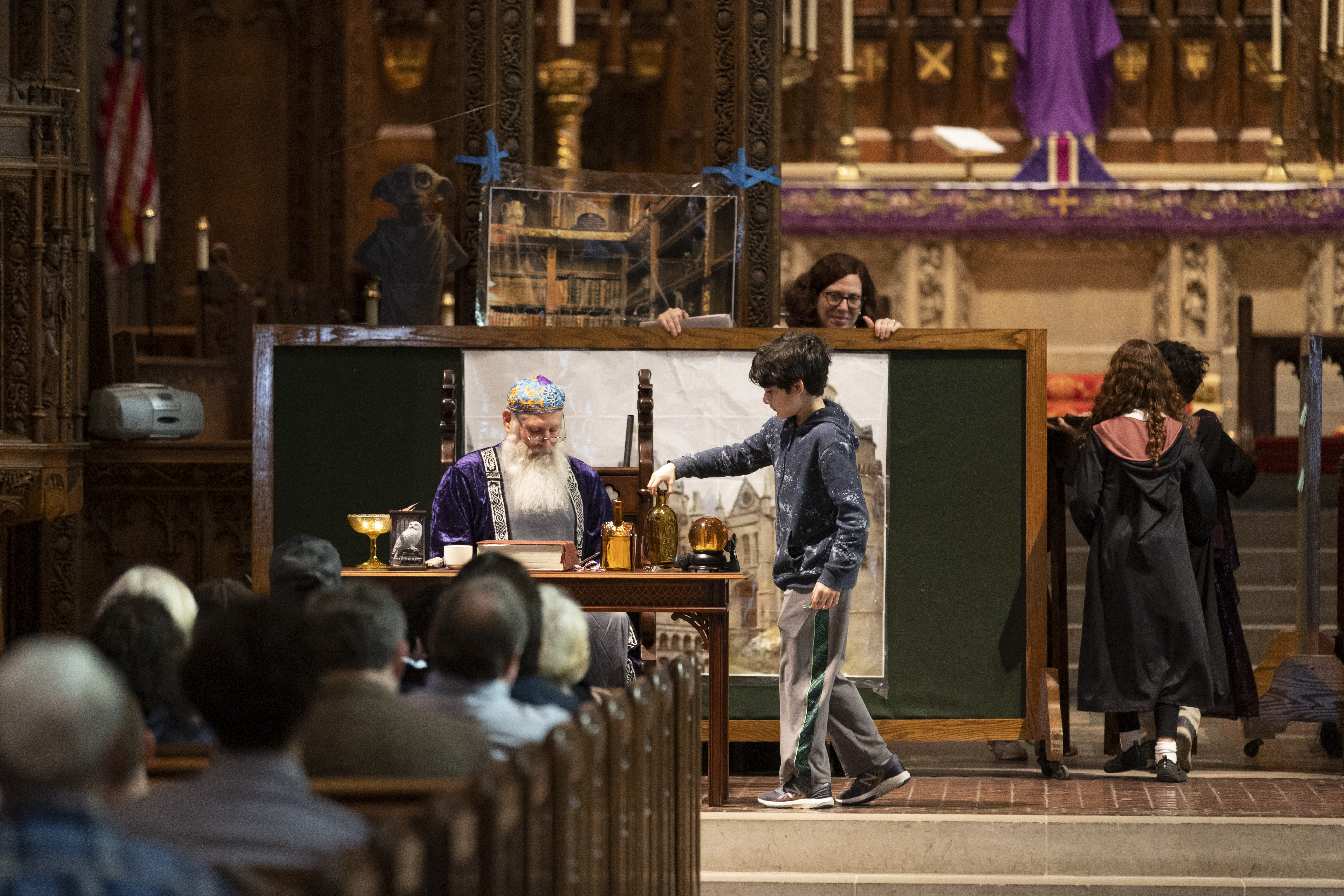 Members of Rodef Shalom and the Tree of Life congregations perform a Harry Potter themed Purim play at Calvary Episcopal Church. Tree of Life has assembled their congregation in the church since the terrorist attack on 10/27/2018.