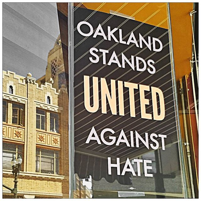 Twitter photo of 'Stand Against Hate' sign in Oakland.