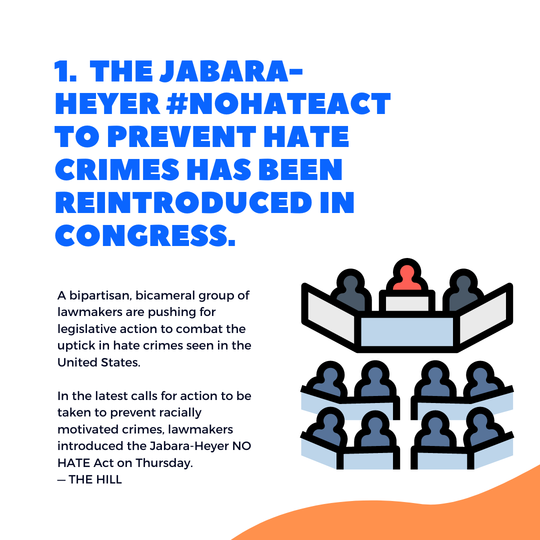 1.  the Jabara-Heyer #NOHATEAct to prevent hate crimes HAS BEEN REINTRODUCED IN CONGRESS.