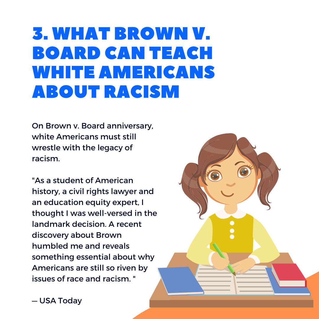 Five things to know this week. On Brown v. Board anniversary, white Americans must still wrestle with legacy of racism