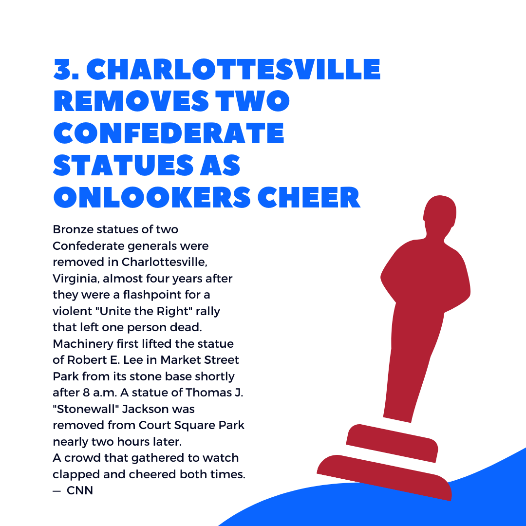 5 things to know this wee, Charlottesville removes statues - July 15, 2021