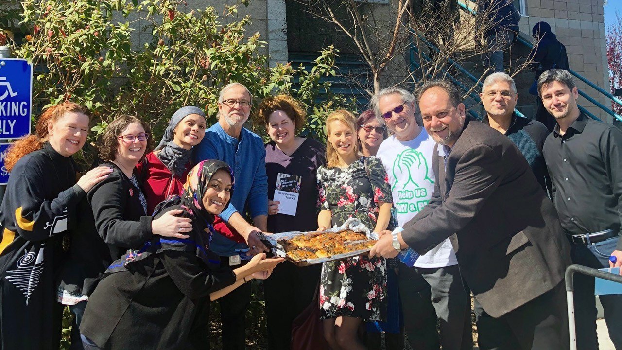 Members of the North Peninsula Jewish and Muslim communities after Friday afternoon services at Yaseen Foundation in Belmont, March 15, 2019 (Photo/Courtesy Stephanie Levine)