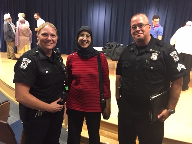 Officer Patricia Esselink, Aamina Ahmed, and Sgt. Dale Waltz from Canton, MI Not In Our Town Committee