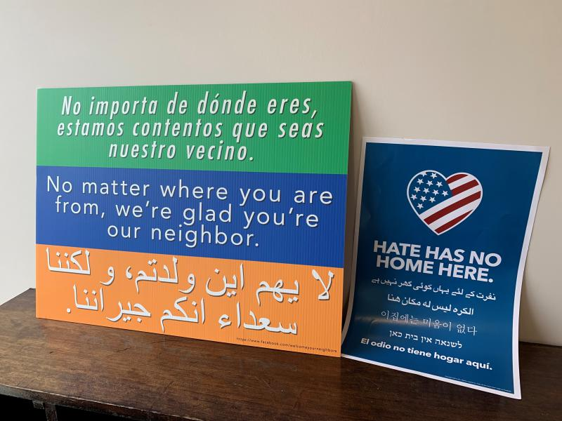 Not In Our Town Bloomington-Normal brought signs to Bloomington's Islamic Center of McLean County as a show of support during midday prayer on March 15, 2019. (Credit: Mary Cullen, WGLT)