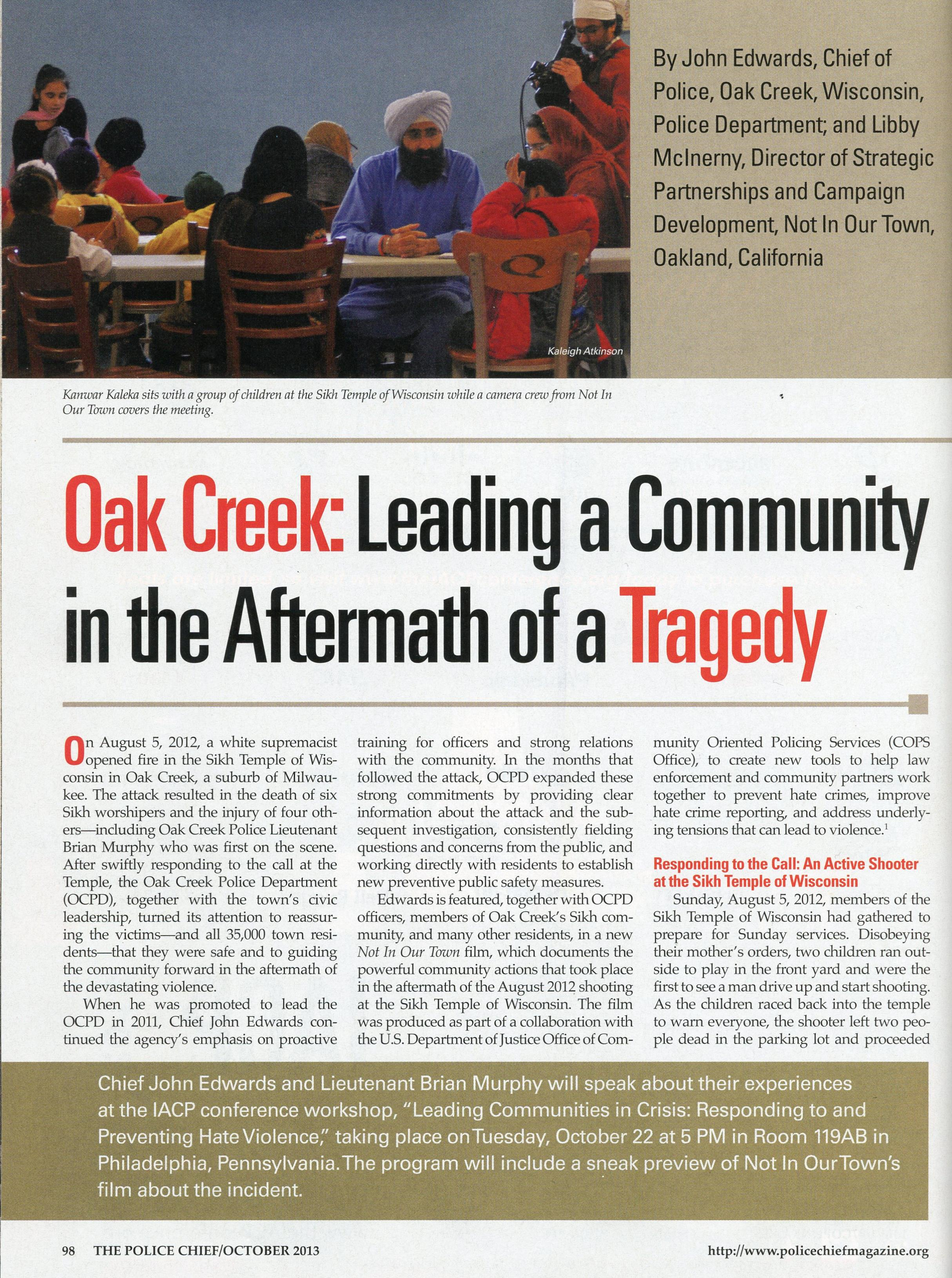 Oak Creek featured in Police Chief Magazine