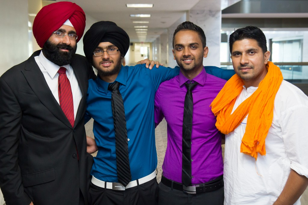 Amardeep Singh Kaleka, Harpreet Saini, Kamal Saini and Amardeep Kaleka in Washington, D.C. at the Senate hearing on hate crimes.  Photo Credit: Russell Brammer