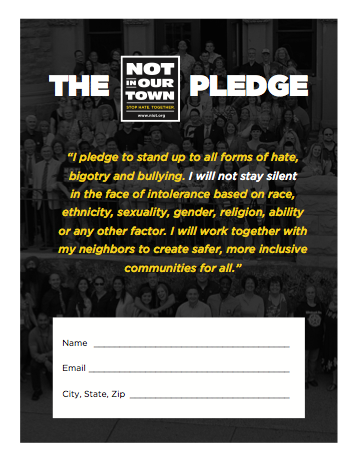 Not In Our Town Pledge Poster