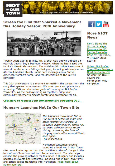 Not In Our Town e-News