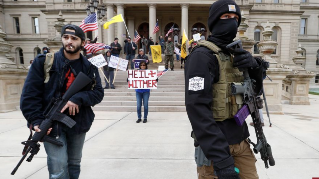 Armed protesters of Michigan Gov. Witmer's stay-at-home orders. Photo from Washington Times.
