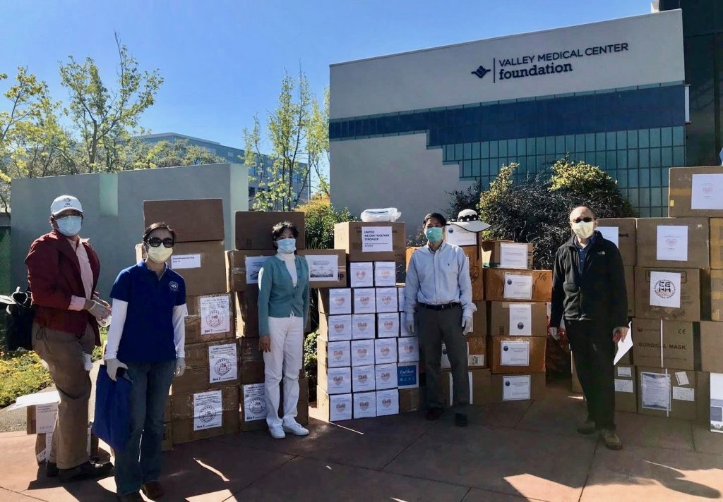 CARE stands in front of Valley Medical Center in Santa Clara, CA with donations of personal protective equipment. Photo from CARE Facebook page.