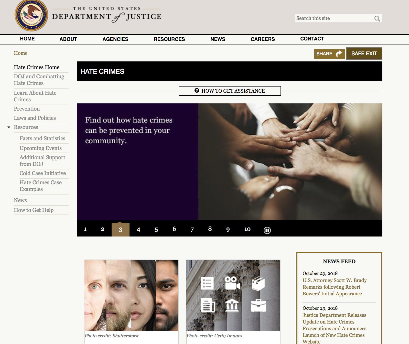 DOJ Hate Crimes website (screenshot)