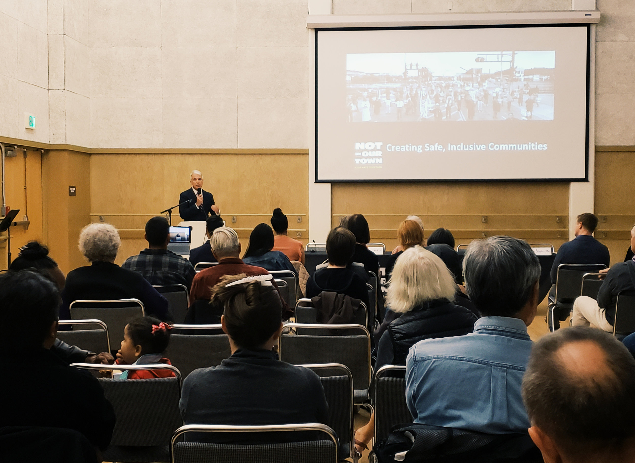 """San Francisco District Attorney George Gascón introduces """"Light in the Darkness"""" at the SF screening and community discussion during an earlier UAH Week screening."""