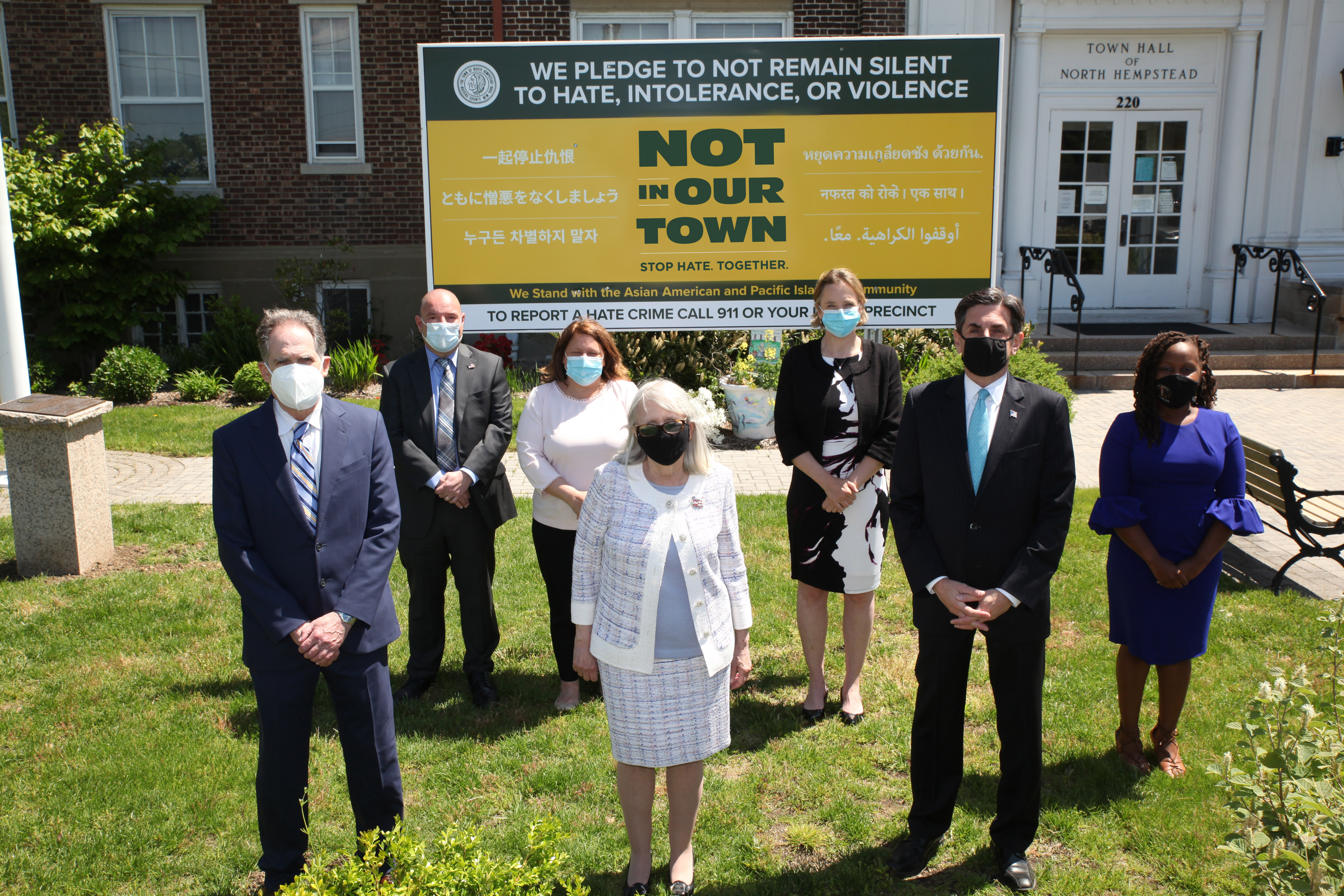 North Hempstead announces new Not In Our Town signs featuring 'Stop Hate Together' in several languages