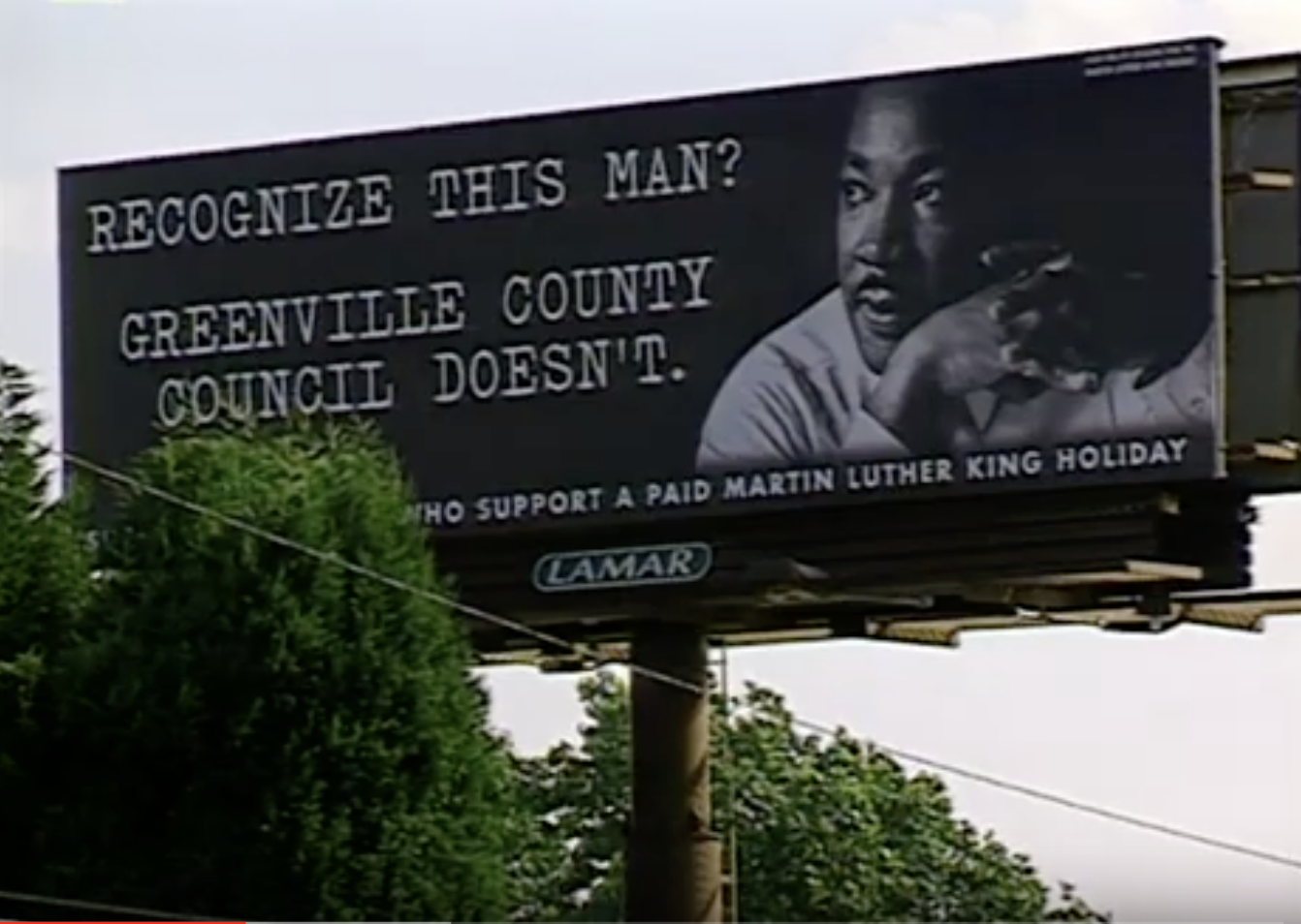 Sign in Greenville during the County Council battle over instituting a Martin Luther King Jr. Holiday.