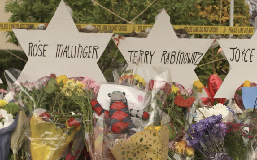 homemade memorials for Tree of Life Synagogue victims