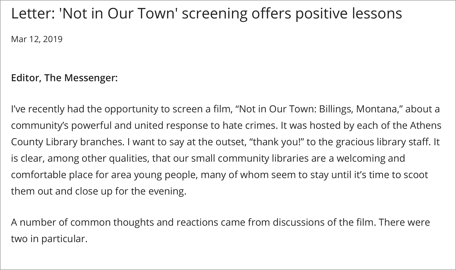 A recent 'Letter to the Editor' at the Athens, OH Messenger after a Not In Our Town screening series at local libraries.