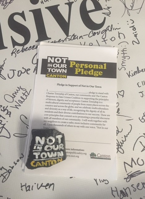 Residents of Canton, OH signed the NIOT pledge at this year's National Night Out, August 7, 2018.