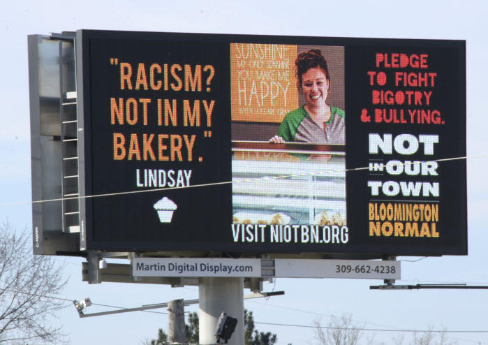 Billboards in Bloomington-Normal spreading the word about 'Not In Our Town'