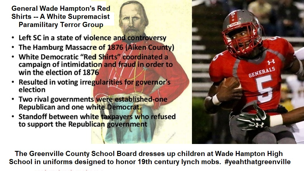 Composite showing the history of the Generals, with a current day photo of a player of the Wade Hampton football team.