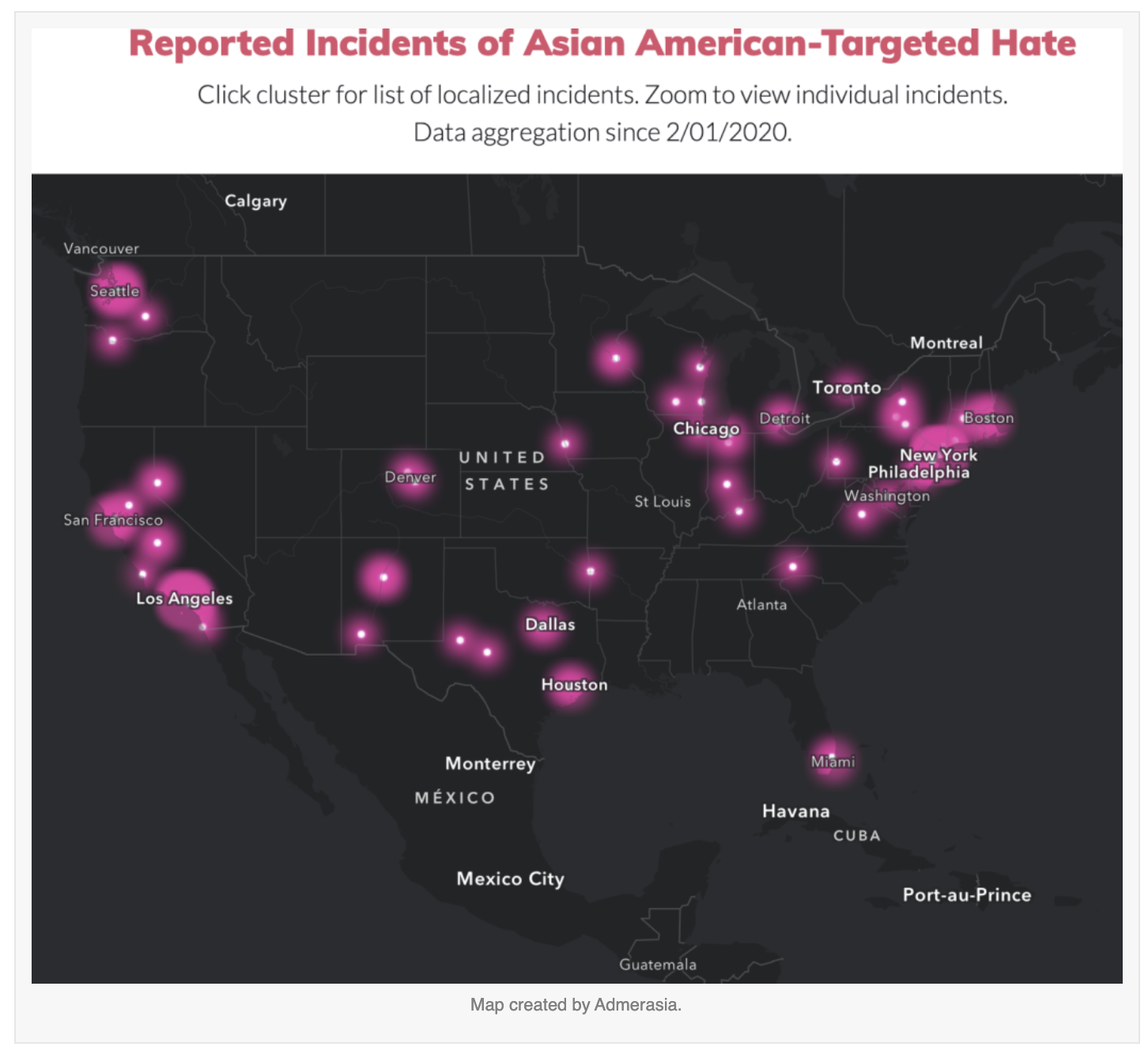 map of reported Asian American targeted violence or harassment incidents since COVID-19
