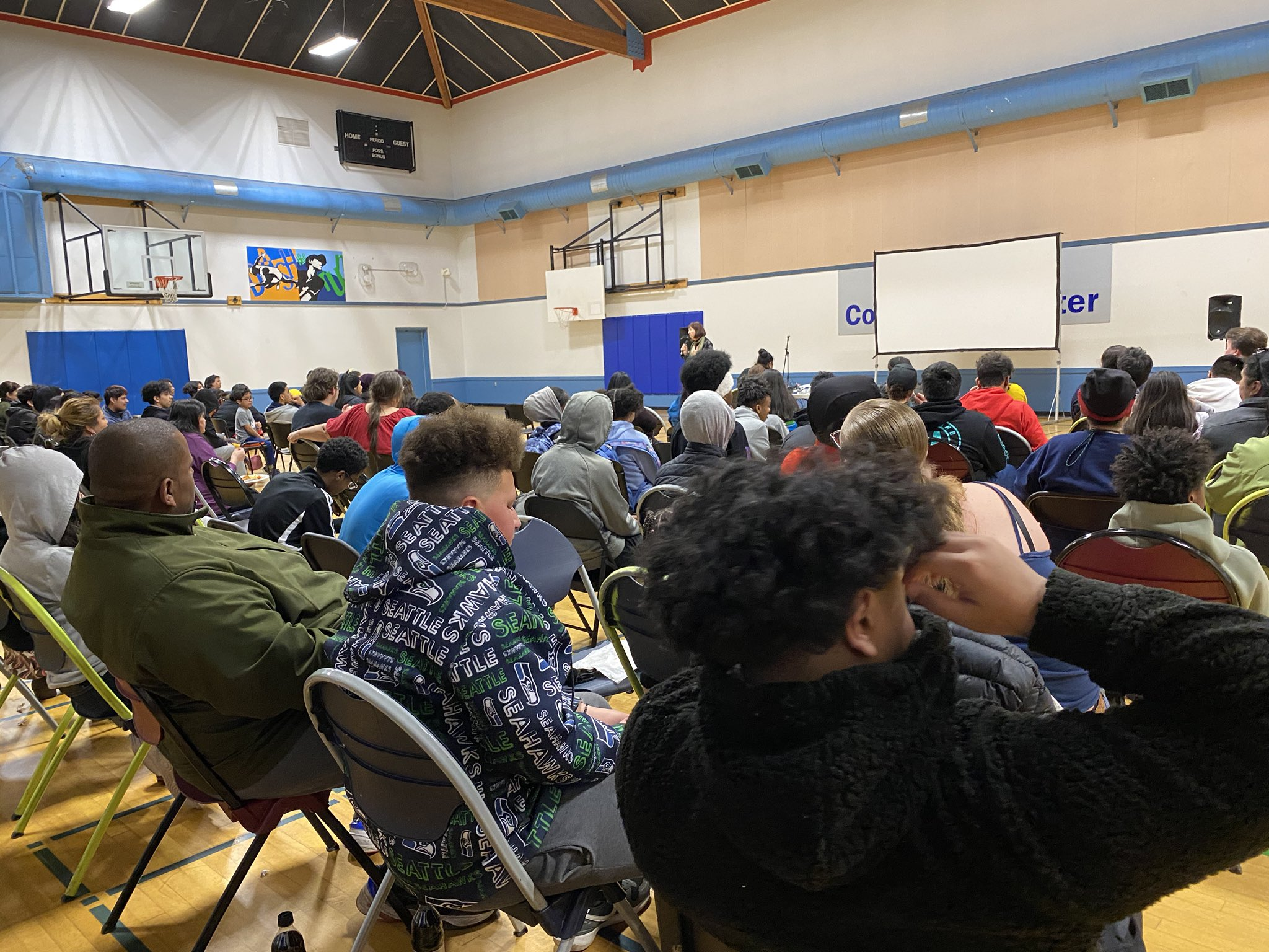 Community members at the South Park Community Center in Seattle, Washington,