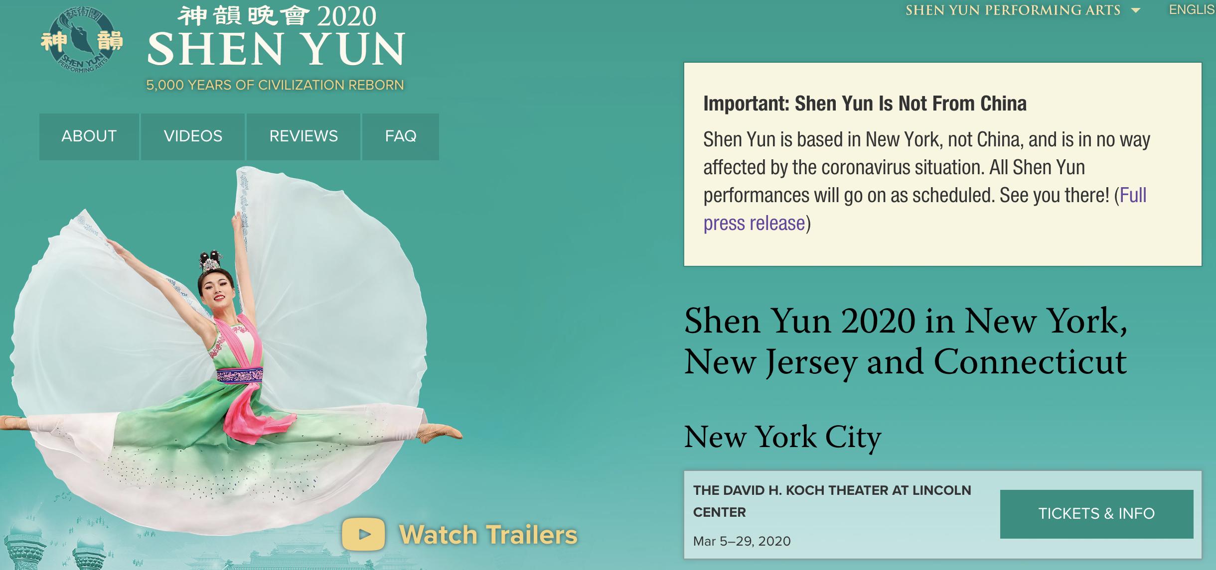 Screenshot of the Shen Yun website