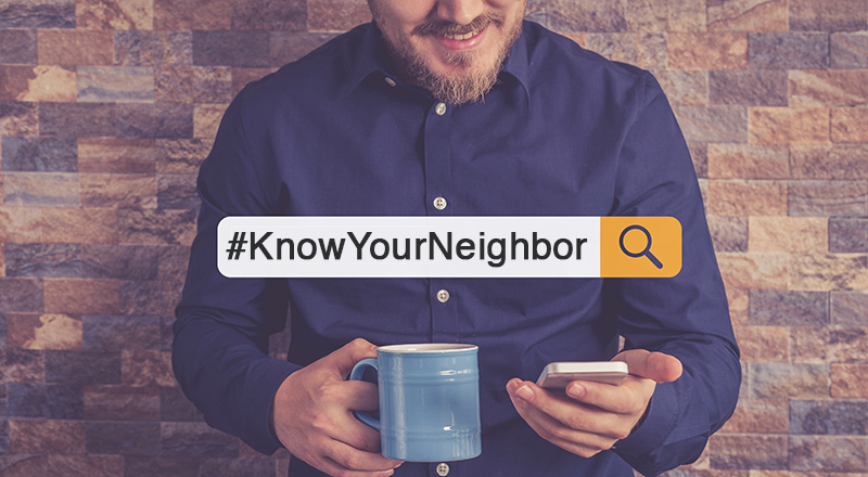 A man uses socila media to participate in the #KnowYourNeighbor campaign.