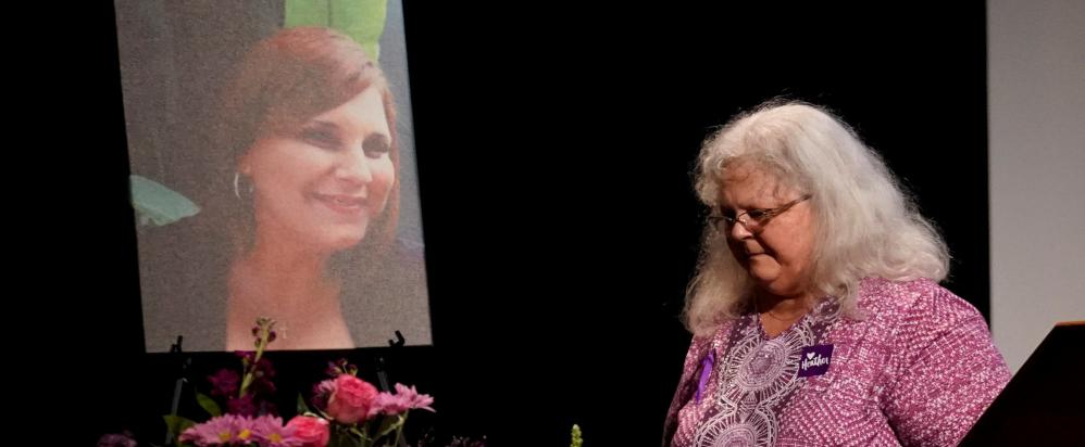 Susan Bro at a memorial service for her daughter, Heather Heyer