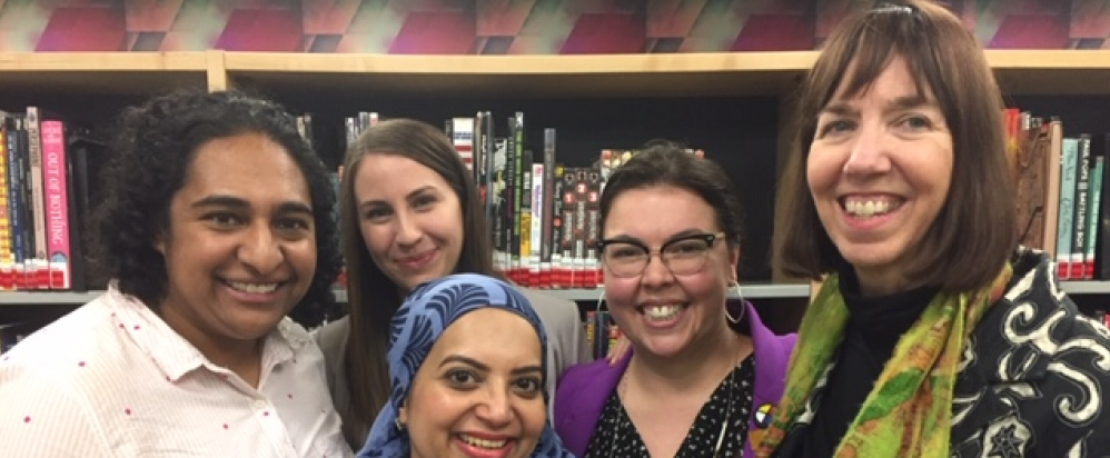 (L-R) Jamal-e-Fatima Rafat (a member of the Muslim community), Sithara Fernando (LGBTQ advocate and member of the Alberta anti-racism council) Caitlin Downie, RACIDE leader and staff of Wood Buffalo Municipality, and Elena Gould (an advocate for Indigenous peoples and Missing and Murdered Indigenous Women) with NIOT's Patrice O'Neill.