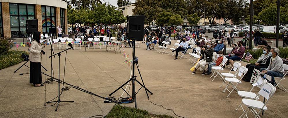 Dozens gather at rally against AAPI hate in San Leandro. Photo credit Matt Boone/KCBS Radio