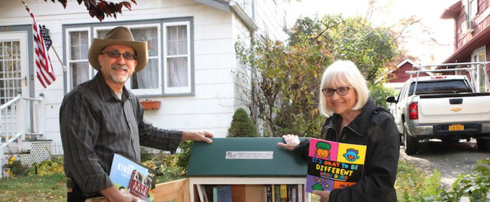 North Hempstead Town Supervisor Judi Bosworth recently donated books for a local Little Free Library, located at the Port Washington residence of Jeffrey Siegel.