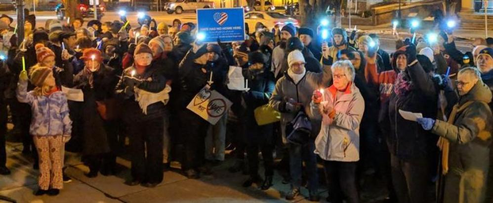 A crowd gathers at the Square in Carlisle in February 2018 for the Carlisle Stands Together: Hope Against Hate rally. (Credit: Tammie Gitt for The Sentinel)