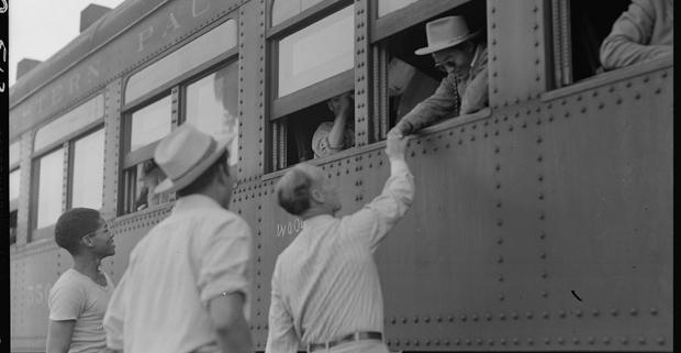 Woodland, California. Filled with evacuees of Japanese ancestry, the special train is ready to depart from this rich agricultural section for the Merced Assembly center, 125 miles away.