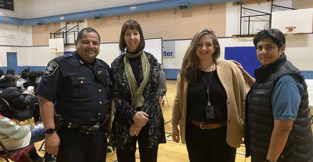 Assistant Police Chief Anthony Diaz, NIOT Leader Patrice O'Neill, Bias Coordinator Detective Elizabeth Wareing and Carmen Martinez.