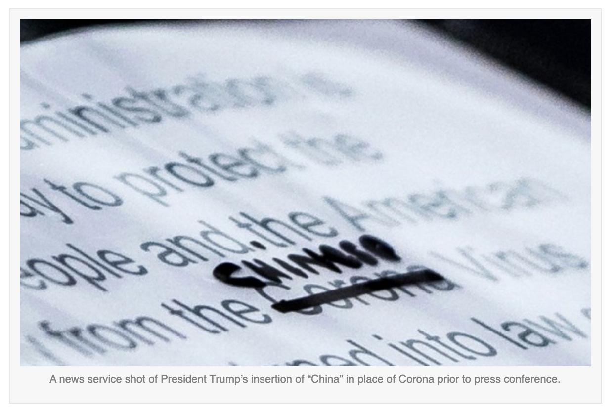 News service photo of Trump replacing 'corona virus' with 'Chinese virus'