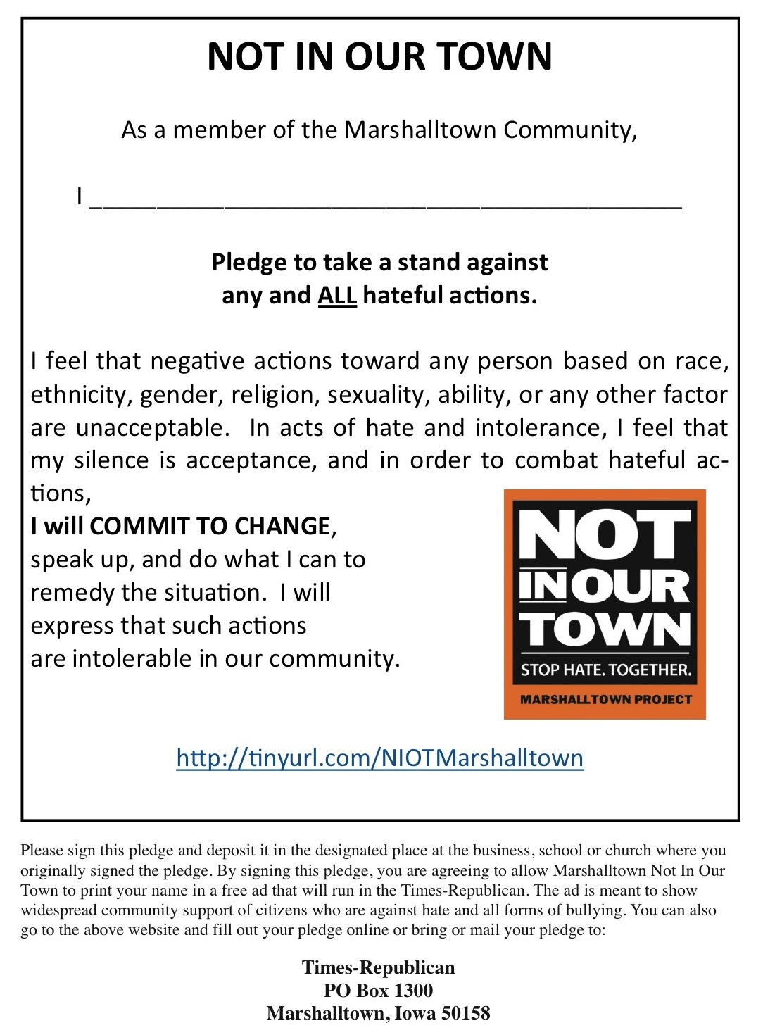 Sample Pledges : Not in Our Town