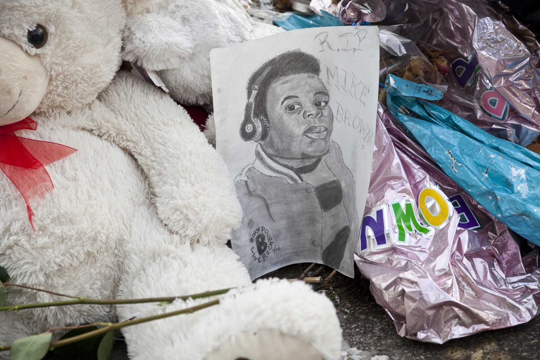 A memorial for Michael Brown Jr. in Ferguson, Mo.  CREDIT: Magnolia Pictures
